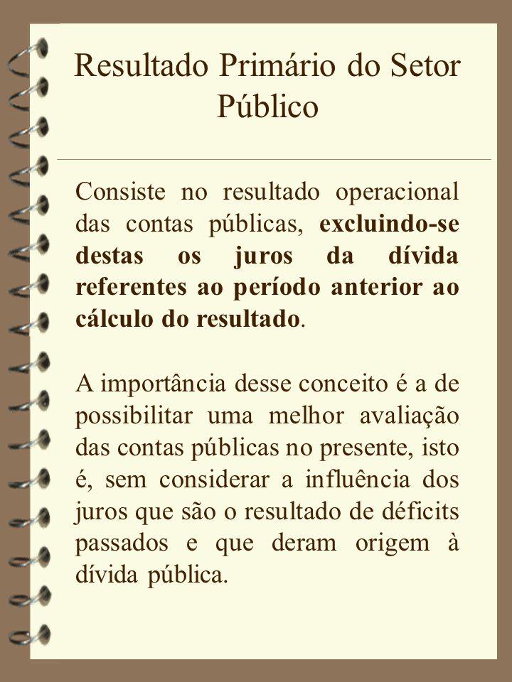 Resultado Primário do Setor Público Consiste no resultado operacional das contas públicas, excluindo-se destas os juros da dívida referentes ao períod