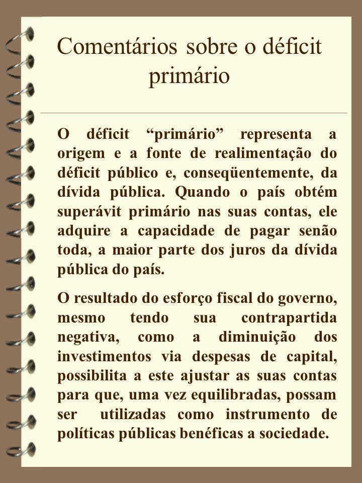 """Comentários sobre o déficit primário O déficit """"primário"""" representa a origem e a fonte de realimentação do déficit público e, conseqüentemente, da dí"""