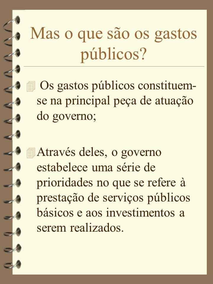 Mas o que são os gastos públicos? 4 Os gastos públicos constituem- se na principal peça de atuação do governo; 4 Através deles, o governo estabelece u