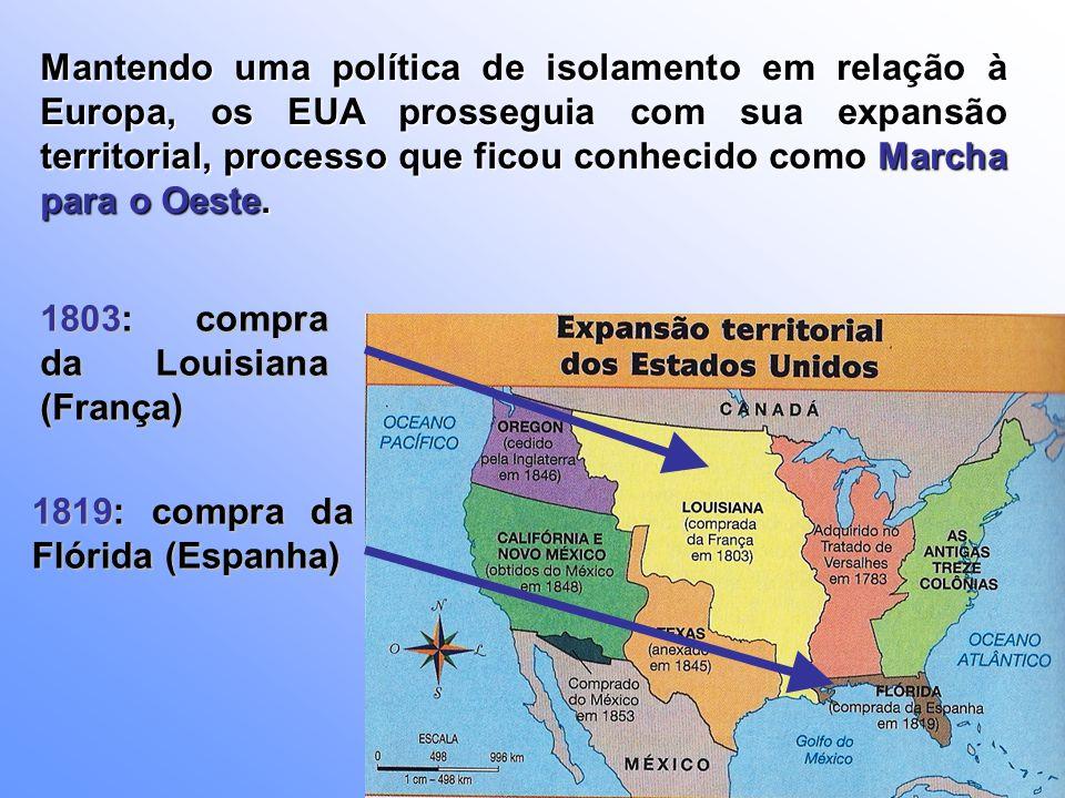Entre 1830 e 1860 o EUA recebeu cerca de 5 milhões de imigrantes, situação que favoreceu o investimento maciço na compra e na conquista de novos territórios.