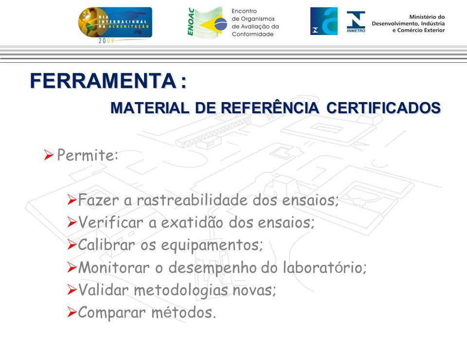 FERRAMENTA : MATERIAL DE REFERÊNCIA CERTIFICADOS  Permite:  Fazer a rastreabilidade dos ensaios;  Verificar a exatidão dos ensaios;  Calibrar os e