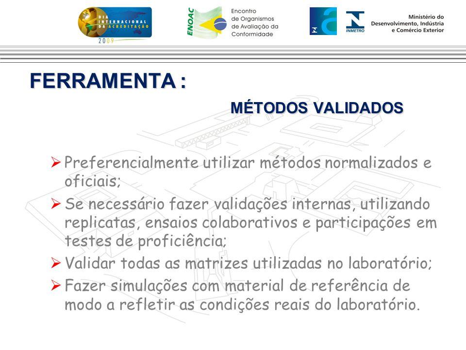 FERRAMENTA : MÉTODOS VALIDADOS  Preferencialmente utilizar métodos normalizados e oficiais;  Se necessário fazer validações internas, utilizando rep