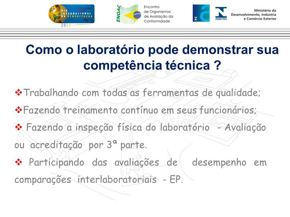 Como o laboratório pode demonstrar sua competência técnica ?  Trabalhando com todas as ferramentas de qualidade;  Fazendo treinamento contínuo em se