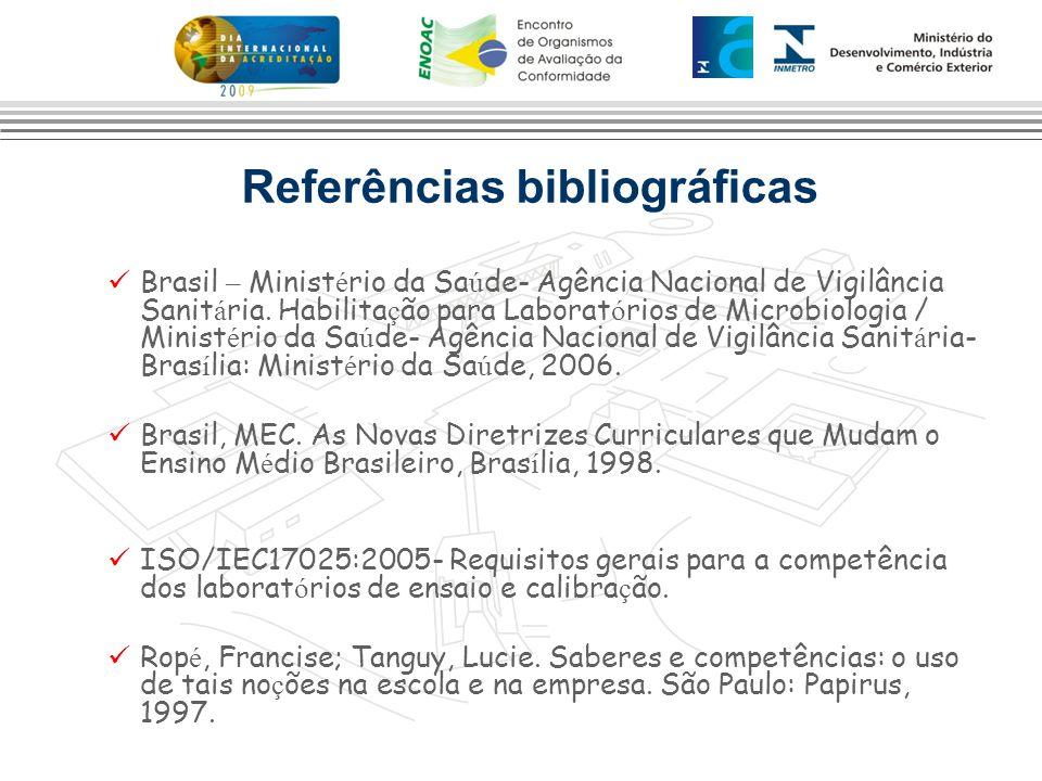 Referências bibliográficas Brasil – Minist é rio da Sa ú de- Agência Nacional de Vigilância Sanit á ria. Habilita ç ão para Laborat ó rios de Microbio