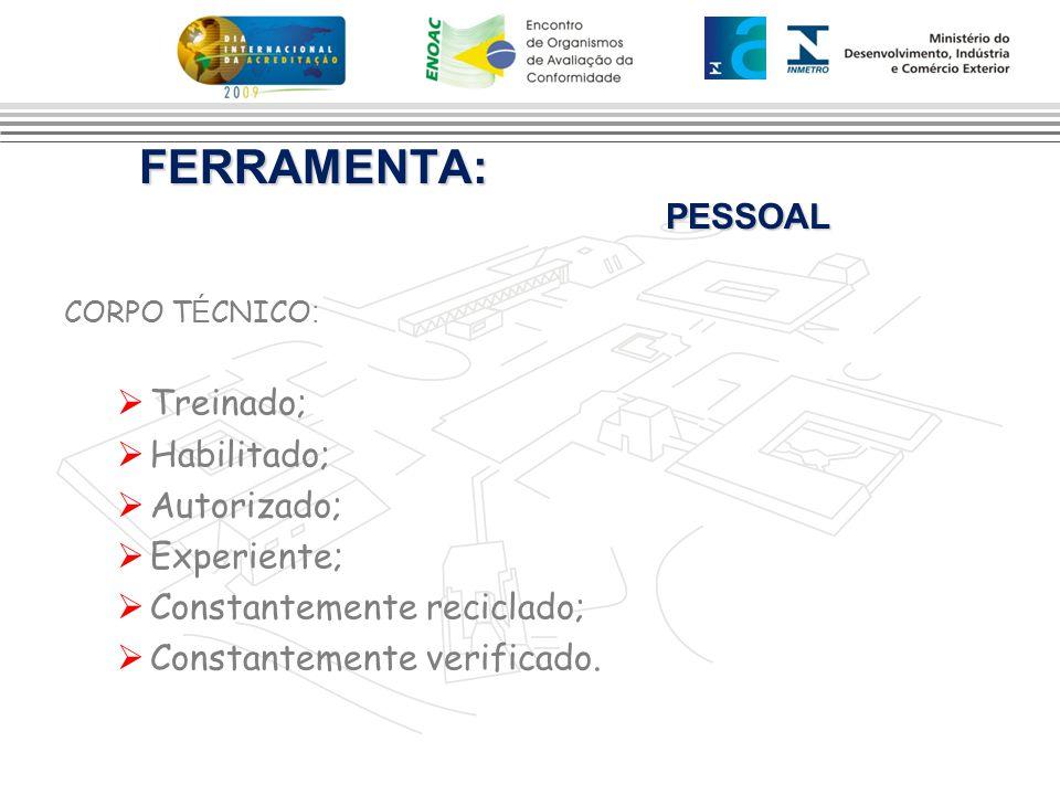 FERRAMENTA: PESSOAL FERRAMENTA: PESSOAL CORPO T É CNICO :  Treinado;  Habilitado;  Autorizado;  Experiente;  Constantemente reciclado;  Constant