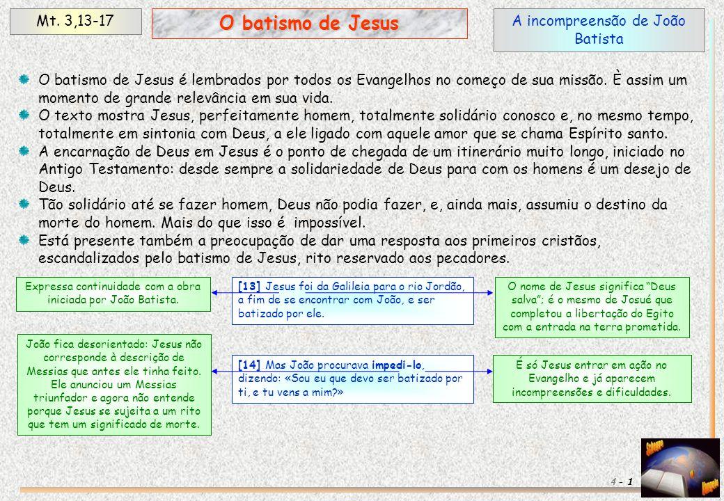 A incompreensão de João Batista Mt. 3,13-17 1 O batismo de Jesus 4 - O batismo de Jesus é lembrados por todos os Evangelhos no começo de sua missão. È
