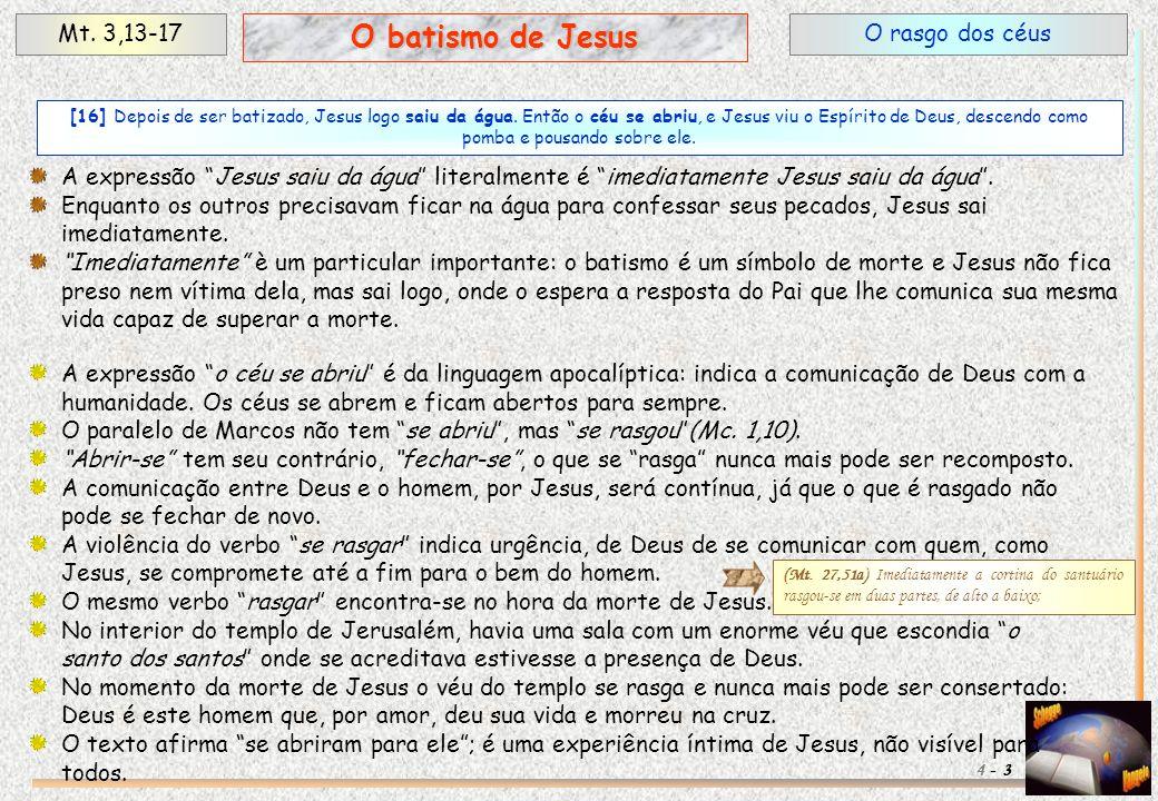 """O rasgo dos céusMt. 3,13-17 3 O batismo de Jesus 4 - A expressão """"Jesus saiu da água"""" literalmente é """"imediatamente Jesus saiu da água"""". Enquanto os o"""