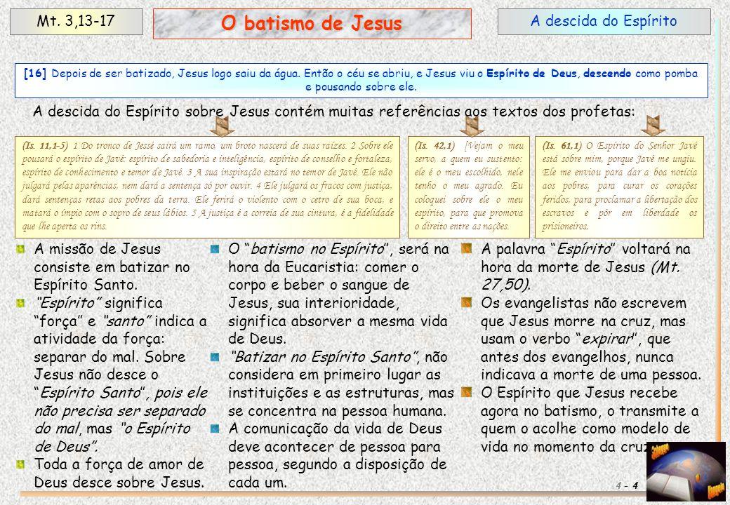 A descida do EspíritoMt. 3,13-17 4 O batismo de Jesus 4 - A descida do Espírito sobre Jesus contém muitas referências aos textos dos profetas: [16] De