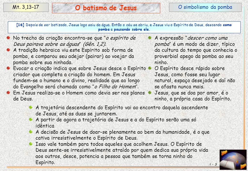 O simbolismo da pombaMt. 3,13-17 5 O batismo de Jesus 4 - [16] Depois de ser batizado, Jesus logo saiu da água. Então o céu se abriu, e Jesus viu o Es