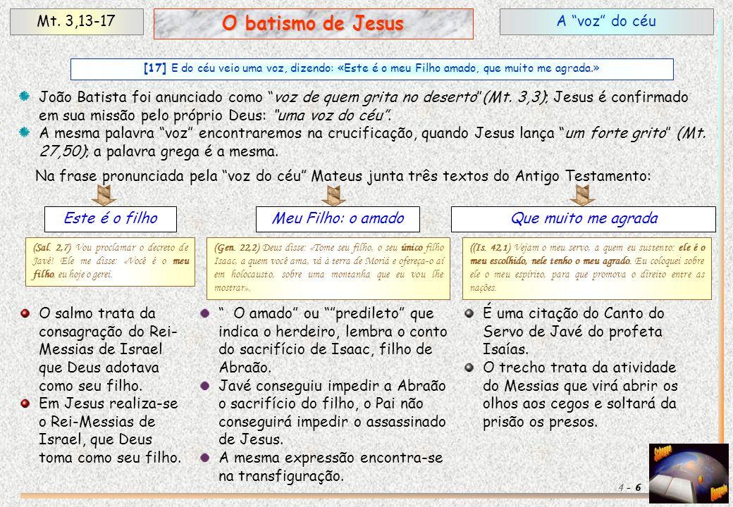 """A """"voz"""" do céuMt. 3,13-17 6 O batismo de Jesus 4 - [17] E do céu veio uma voz, dizendo: «Este é o meu Filho amado, que muito me agrada.» João Batista"""