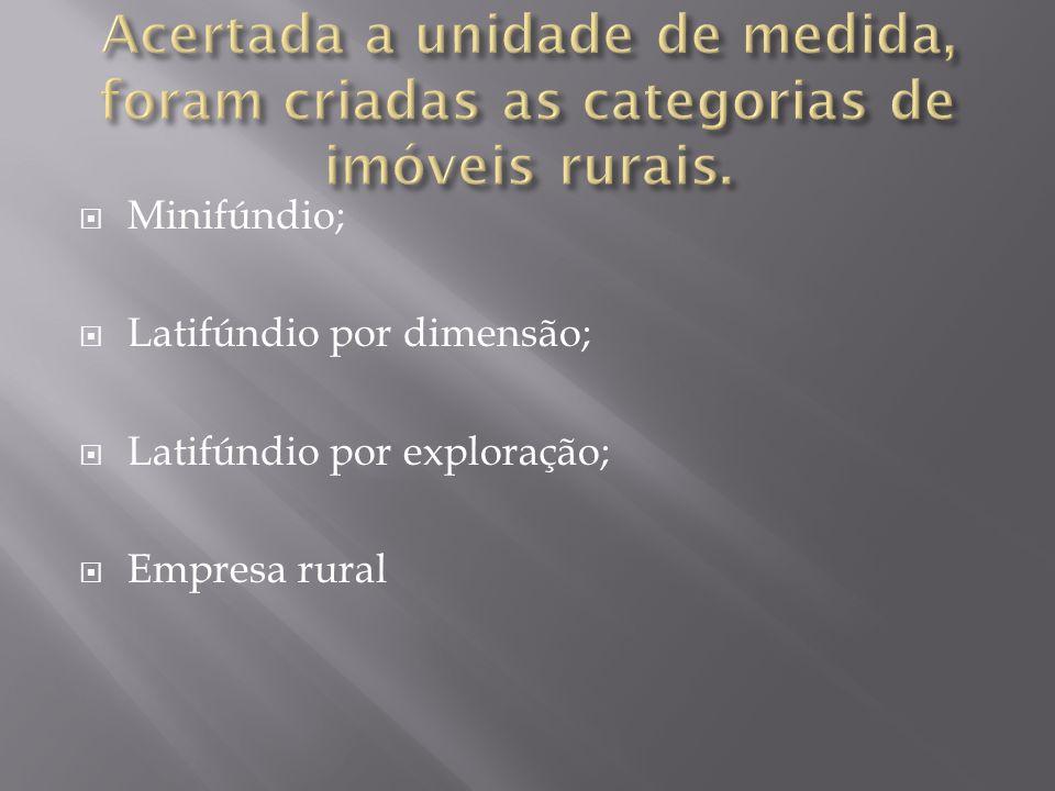  Minifúndio;  Latifúndio por dimensão;  Latifúndio por exploração;  Empresa rural