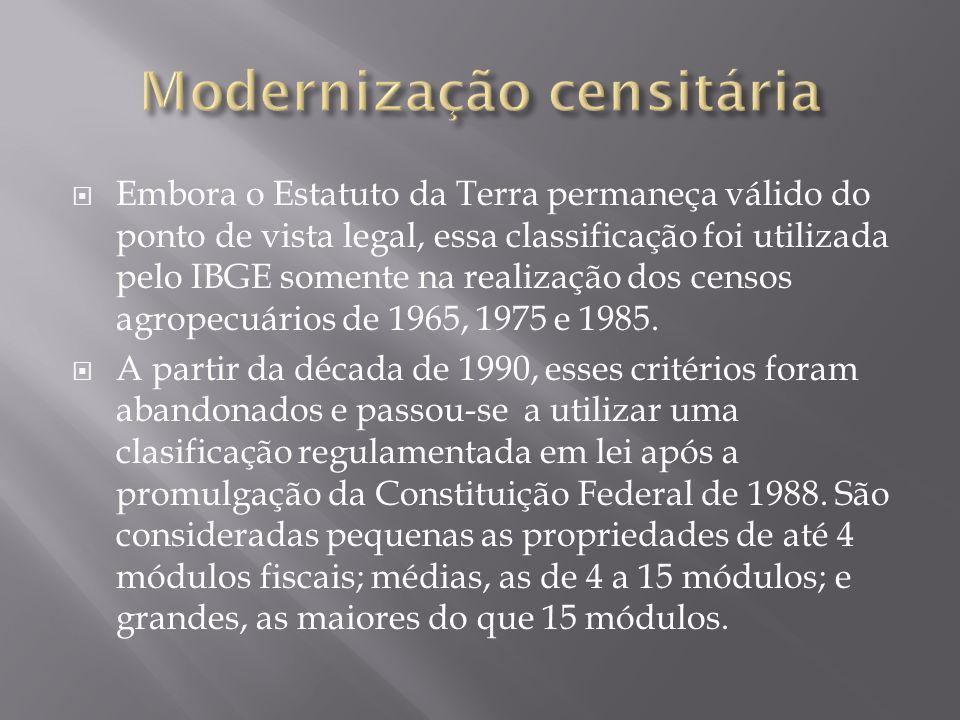  Embora o Estatuto da Terra permaneça válido do ponto de vista legal, essa classificação foi utilizada pelo IBGE somente na realização dos censos agropecuários de 1965, 1975 e 1985.