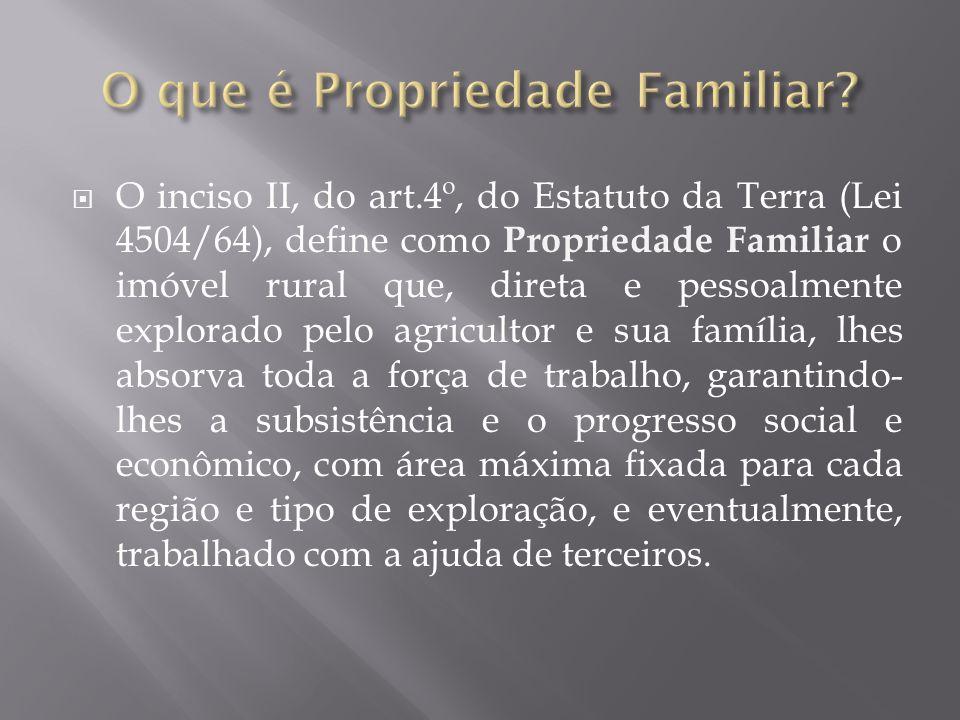  O inciso II, do art.4º, do Estatuto da Terra (Lei 4504/64), define como Propriedade Familiar o imóvel rural que, direta e pessoalmente explorado pel