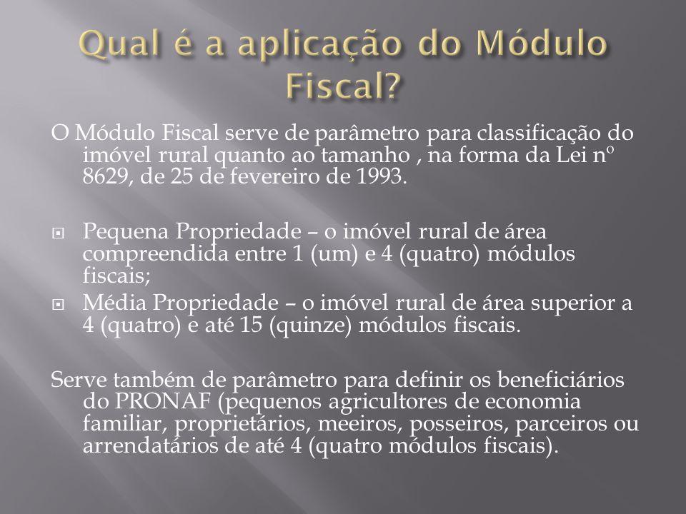 O Módulo Fiscal serve de parâmetro para classificação do imóvel rural quanto ao tamanho, na forma da Lei nº 8629, de 25 de fevereiro de 1993.  Pequen