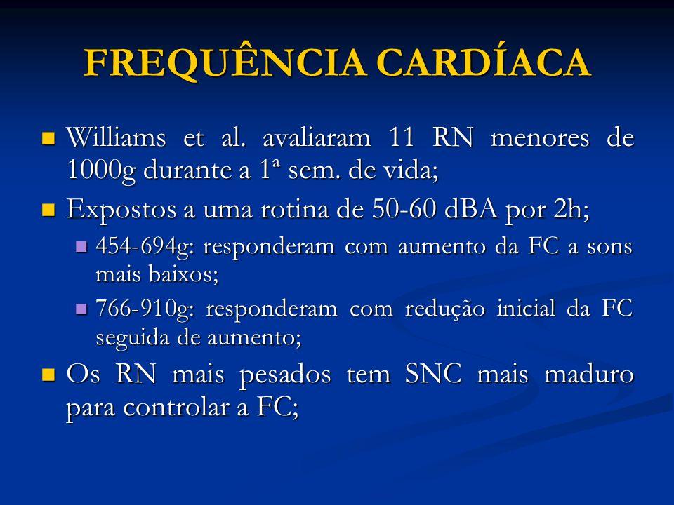 FREQUÊNCIA CARDÍACA Williams et al. avaliaram 11 RN menores de 1000g durante a 1ª sem. de vida; Williams et al. avaliaram 11 RN menores de 1000g duran