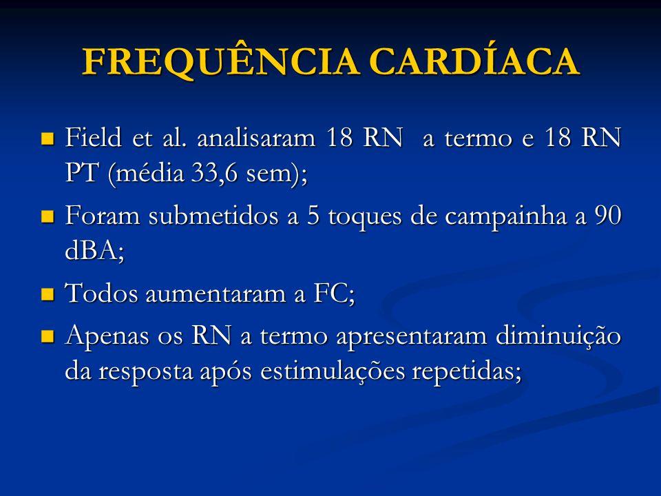 FREQUÊNCIA CARDÍACA Field et al. analisaram 18 RN a termo e 18 RN PT (média 33,6 sem); Field et al. analisaram 18 RN a termo e 18 RN PT (média 33,6 se