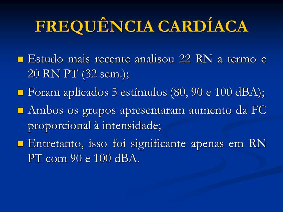 FREQUÊNCIA CARDÍACA Estudo mais recente analisou 22 RN a termo e 20 RN PT (32 sem.); Estudo mais recente analisou 22 RN a termo e 20 RN PT (32 sem.);