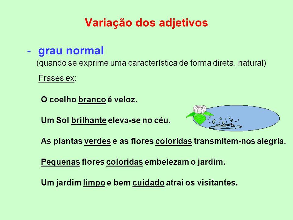 Quanto ao grau os adjetivos podem estar: -no grau comparativo (quando se estabelece uma comparação entre dois seres…) -no grau normal (quando se expri