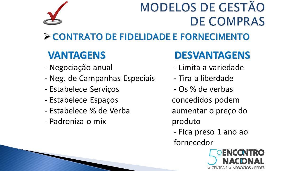  CONTRATO DE FIDELIDADE E FORNECIMENTO VANTAGENS VANTAGENS DESVANTAGENS DESVANTAGENS - Negociação anual - Limita a variedade - Neg.
