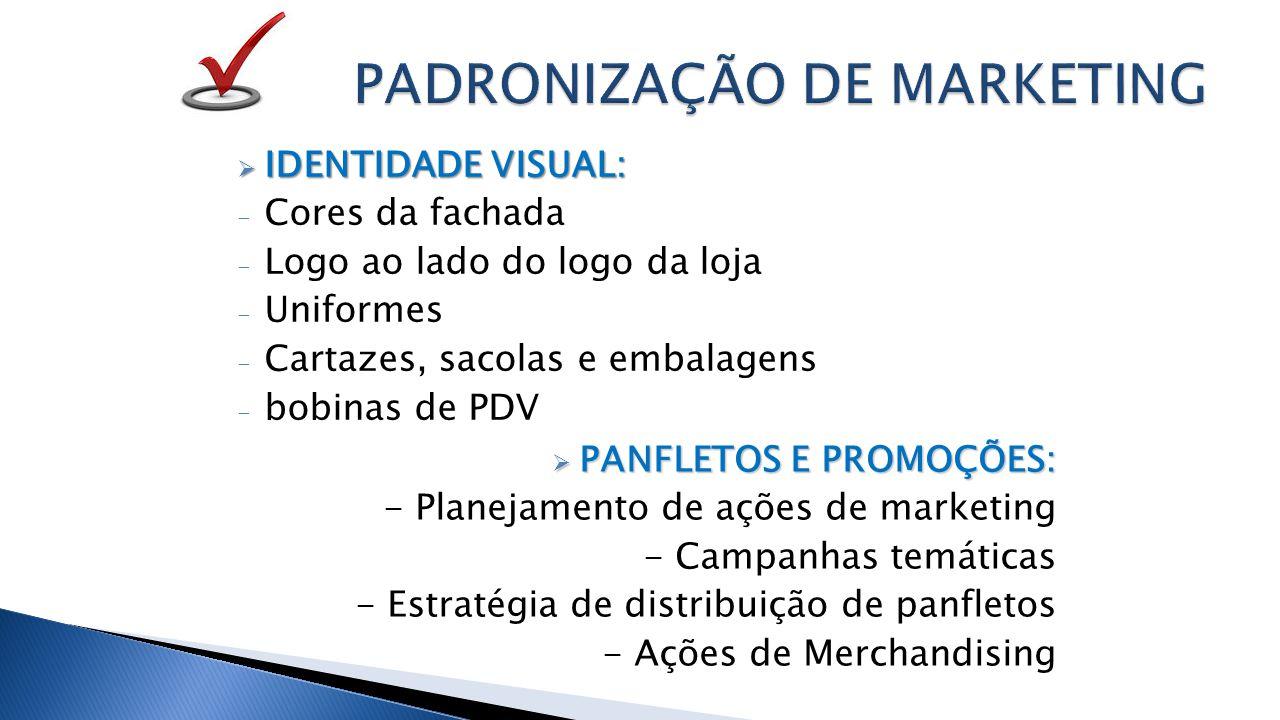  IDENTIDADE VISUAL: - Cores da fachada - Logo ao lado do logo da loja - Uniformes - Cartazes, sacolas e embalagens - bobinas de PDV  PANFLETOS E PROMOÇÕES: - Planejamento de ações de marketing - Campanhas temáticas - Estratégia de distribuição de panfletos - Ações de Merchandising