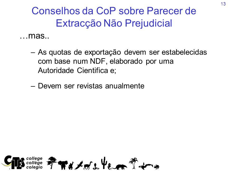 13 Conselhos da CoP sobre Parecer de Extracção Não Prejudicial …mas..