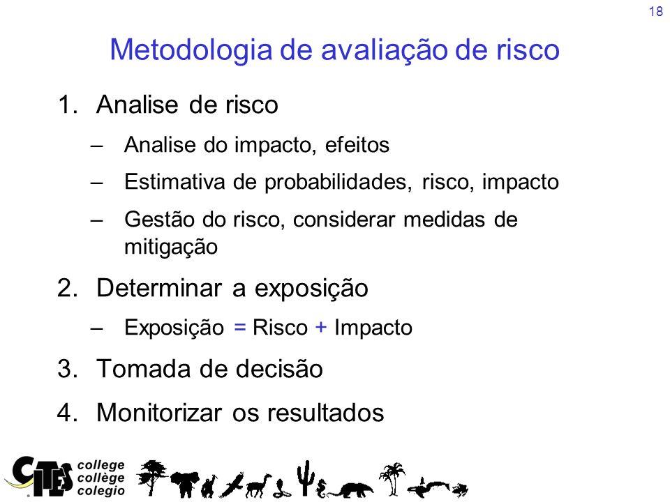 18 Metodologia de avaliação de risco 1.Analise de risco –Analise do impacto, efeitos –Estimativa de probabilidades, risco, impacto –Gestão do risco, considerar medidas de mitigação 2.Determinar a exposição –Exposição = Risco + Impacto 3.Tomada de decisão 4.Monitorizar os resultados