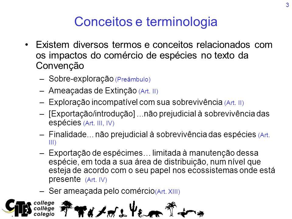 3 Conceitos e terminologia Existem diversos termos e conceitos relacionados com os impactos do comércio de espécies no texto da Convenção –Sobre-exploração (Preâmbulo) –Ameaçadas de Extinção (Art.