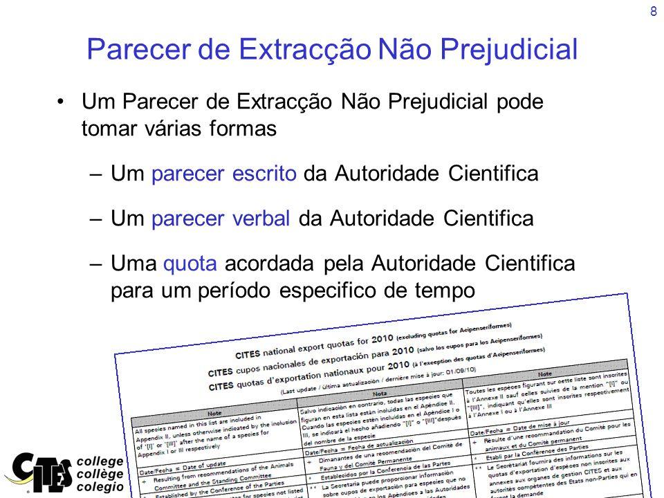 29 Resumo Podem ser encontrados nos documentos CITES conceitos e linguagem relacionada com os Pareceres de Extracção Não Prejudicial.