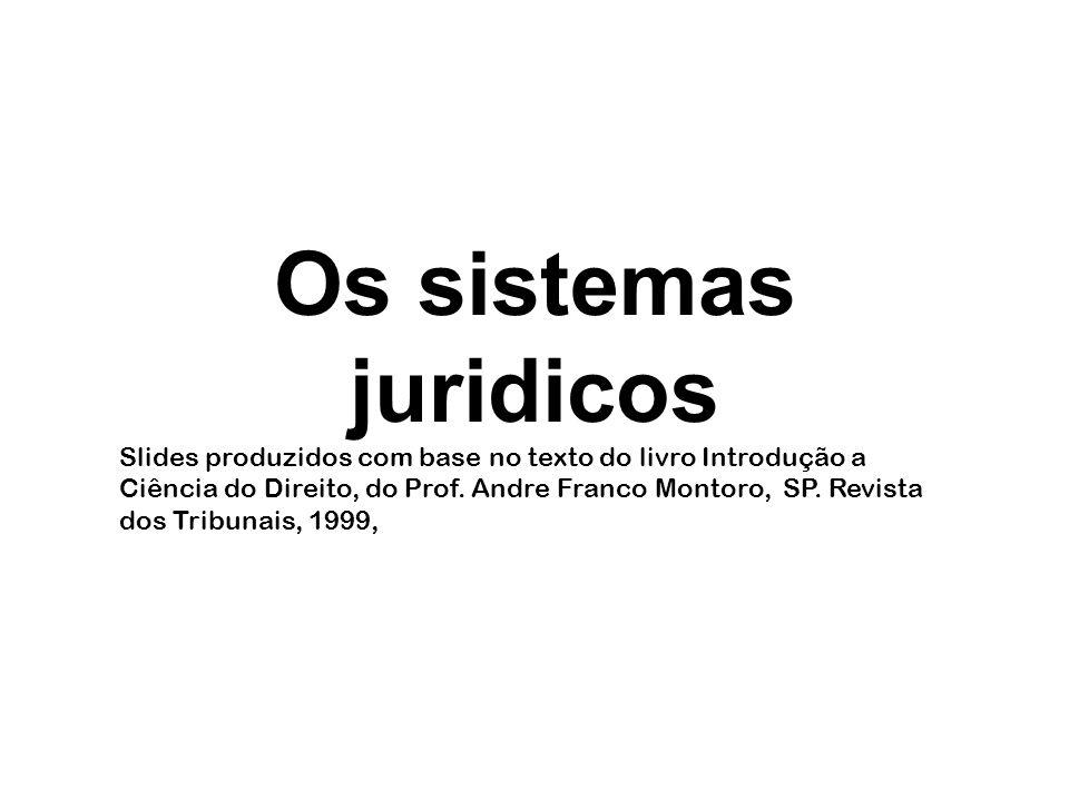 Os sistemas juridicos Slides produzidos com base no texto do livro Introdução a Ciência do Direito, do Prof. Andre Franco Montoro, SP. Revista dos Tri