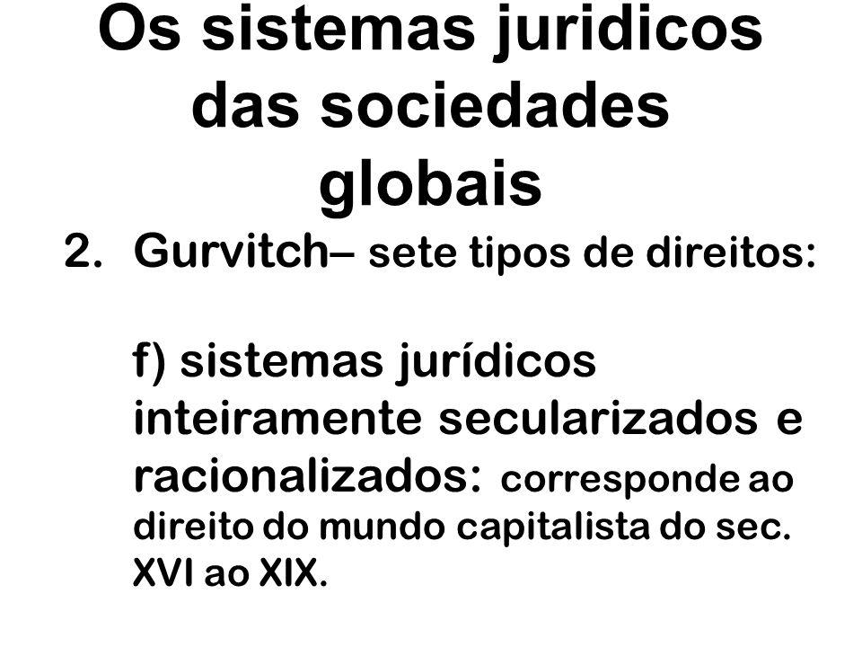 Os sistemas juridicos das sociedades globais 2.Gurvitch– sete tipos de direitos: f) sistemas jurídicos inteiramente secularizados e racionalizados: co