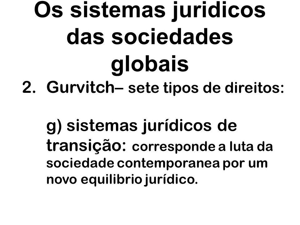 Os sistemas juridicos das sociedades globais 2.Gurvitch– sete tipos de direitos: g) sistemas jurídicos de transição: corresponde a luta da sociedade c