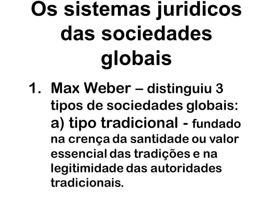 Os sistemas juridicos das sociedades globais 1.Max Weber – distinguiu 3 tipos de sociedades globais: b) tipo carismático - fundado nas qualidades, heroismo, valor ou poderes de um profeta, chefe ou guia.