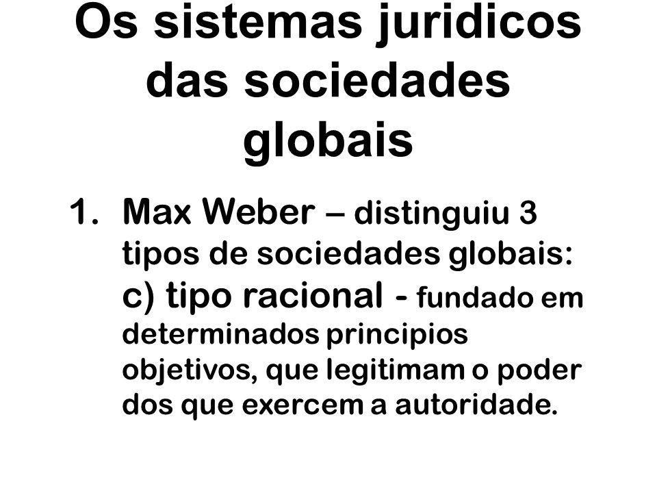 Os sistemas juridicos das sociedades globais 1.Max Weber – distinguiu 3 tipos de sociedades globais: c) tipo racional - fundado em determinados princi