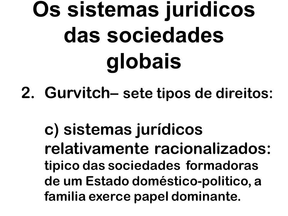 Os sistemas juridicos das sociedades globais 2.Gurvitch– sete tipos de direitos: d) sistemas jurídicos da sociedade feudal: caracteriza- se pela presença de inúmeros grupos sociais hierarquizados.