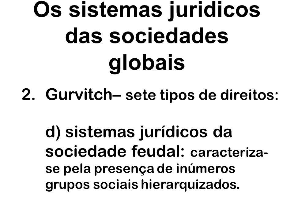 Os sistemas juridicos das sociedades globais 2.Gurvitch– sete tipos de direitos: e) sistemas jurídicos da sociedade feudal: caracteriza- se pela presença de um processo de democratização e de secularização do direito.