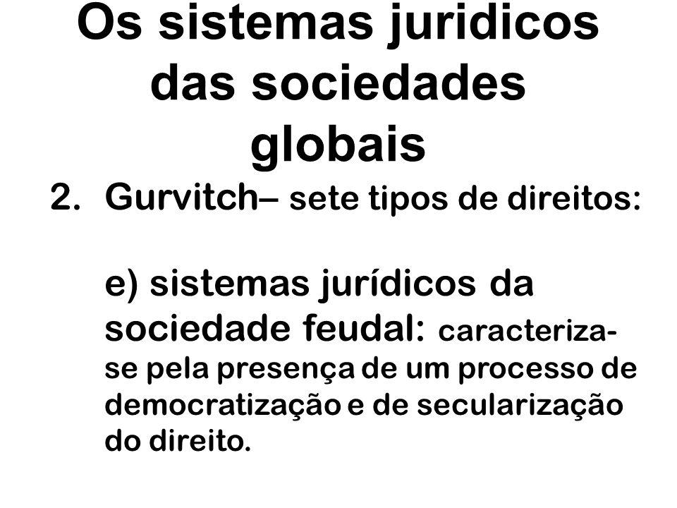 Os sistemas juridicos das sociedades globais 2.Gurvitch– sete tipos de direitos: f) sistemas jurídicos inteiramente secularizados e racionalizados: corresponde ao direito do mundo capitalista do sec.