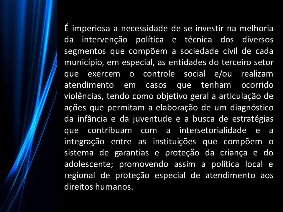 É imperiosa a necessidade de se investir na melhoria da intervenção política e técnica dos diversos segmentos que compõem a sociedade civil de cada mu
