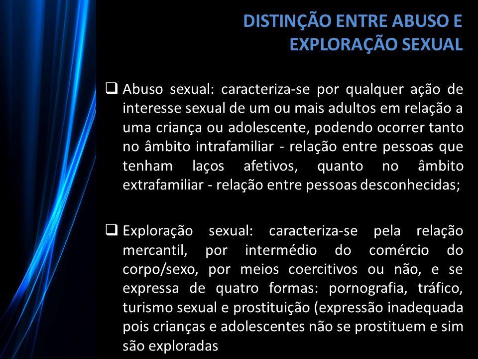 DISTINÇÃO ENTRE ABUSO E EXPLORAÇÃO SEXUAL  Abuso sexual: caracteriza-se por qualquer ação de interesse sexual de um ou mais adultos em relação a uma