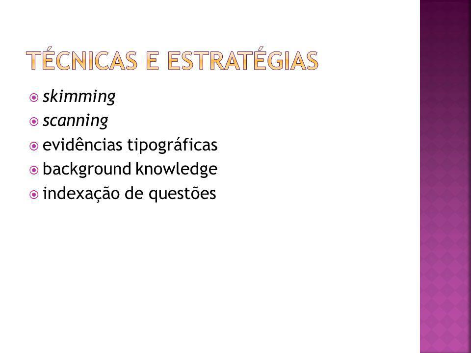 sskimming sscanning eevidências tipográficas bbackground knowledge iindexação de questões