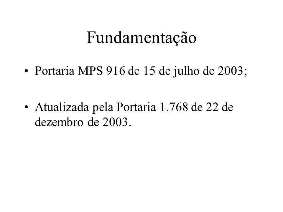 Fundamentação Portaria MPS 916 de 15 de julho de 2003; Atualizada pela Portaria 1.768 de 22 de dezembro de 2003.
