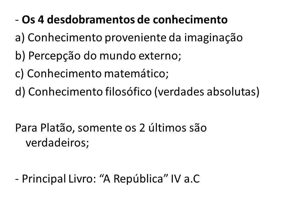 - Os 4 desdobramentos de conhecimento a) Conhecimento proveniente da imaginação b) Percepção do mundo externo; c) Conhecimento matemático; d) Conhecim