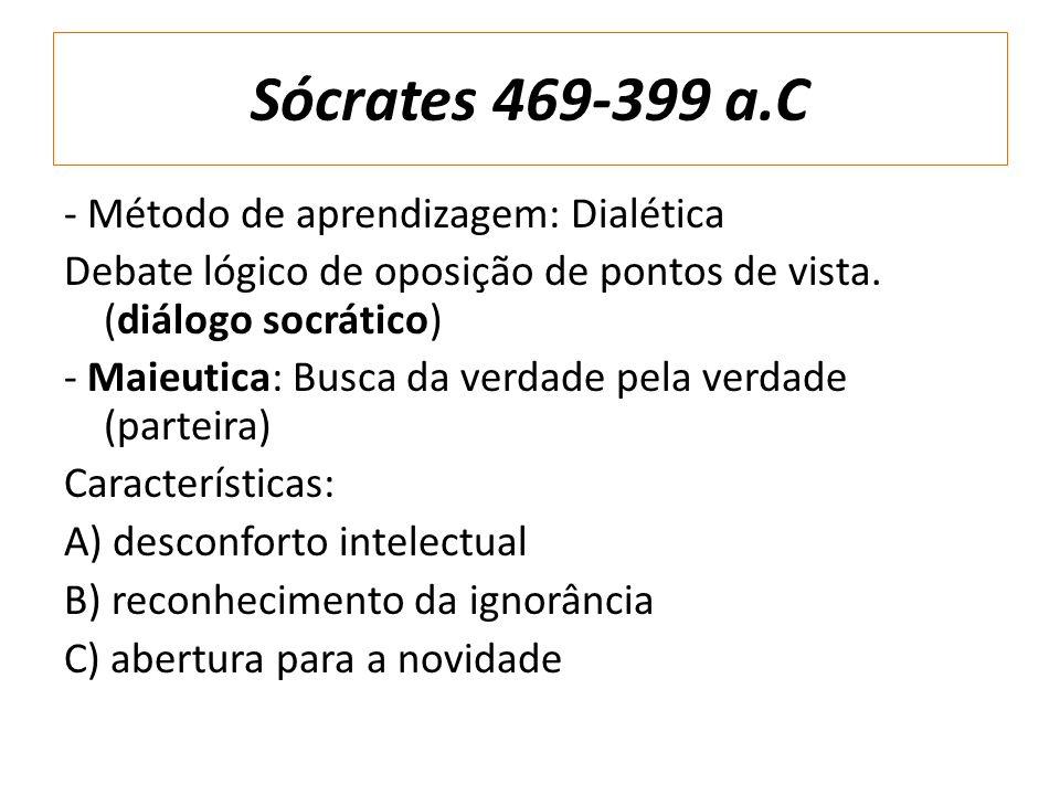 Sócrates 469-399 a.C - Método de aprendizagem: Dialética Debate lógico de oposição de pontos de vista. (diálogo socrático) - Maieutica: Busca da verda