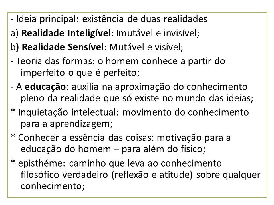 - Ideia principal: existência de duas realidades a) Realidade Inteligível: Imutável e invisível; b) Realidade Sensível: Mutável e visível; - Teoria da