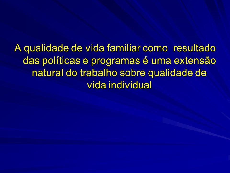 A qualidade de vida familiar como resultado das políticas e programas é uma extensão natural do trabalho sobre qualidade de vida individual