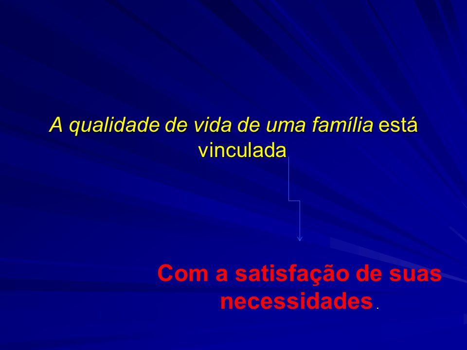 A qualidade de vida de uma família está vinculada Com a satisfação de suas necessidades.