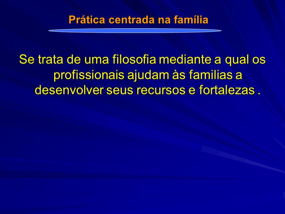 Se trata de uma filosofia mediante a qual os profissionais ajudam às familias a desenvolver seus recursos e fortalezas.
