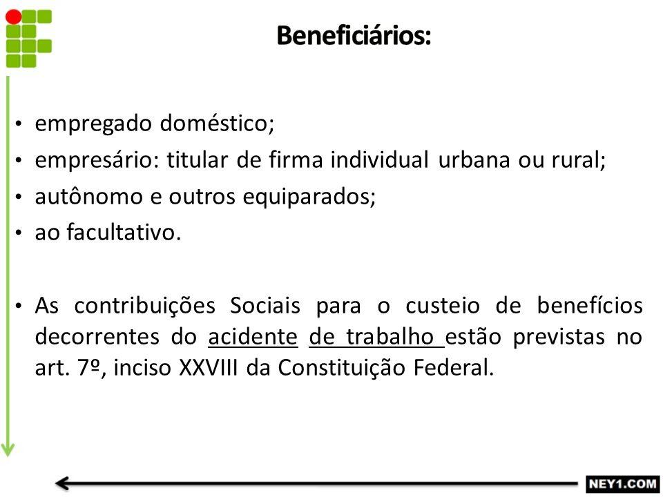 empregado doméstico; empresário: titular de firma individual urbana ou rural; autônomo e outros equiparados; ao facultativo.