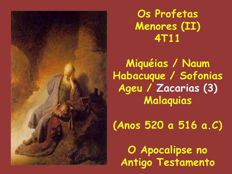 Os Profetas Menores (II) 4T11 Miquéias / Naum Habacuque / Sofonias Ageu / Zacarias (3) Malaquias (Anos 520 a 516 a.C) O Apocalipse no Antigo Testament