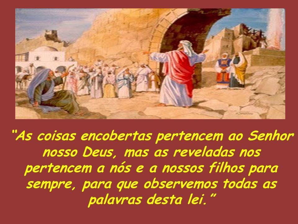 """""""As coisas encobertas pertencem ao Senhor nosso Deus, mas as reveladas nos pertencem a nós e a nossos filhos para sempre, para que observemos todas as"""