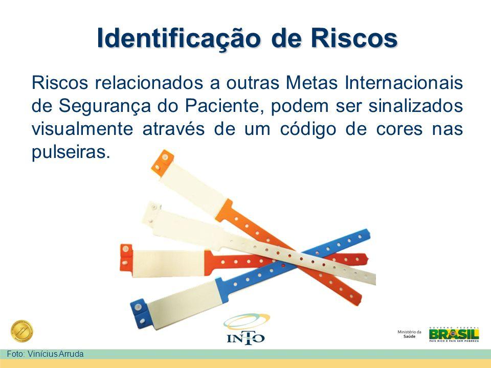 Identificação de Riscos Riscos relacionados a outras Metas Internacionais de Segurança do Paciente, podem ser sinalizados visualmente através de um có